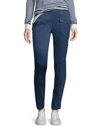 Vince Linen Blend Belted Trousers Blue Marine