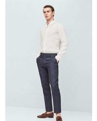 Mango Outlet Slim Fit Linen Suit Trousers