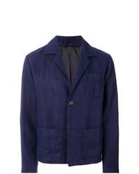 Navy Linen Shirt Jacket