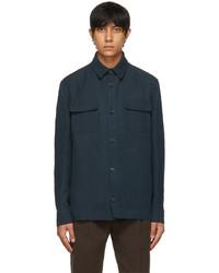 Loro Piana Blue Linen Silk Overshirt Jacket