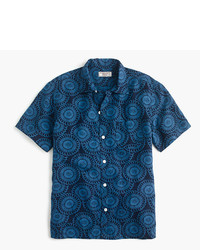 J.Crew Wallace Barnes Short Sleeve Camp Collar Shirt In Silk Linen
