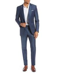 BOSS Hugo Helward Fit Solid Linen Cotton Suit