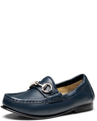 Gucci Boys Leather Horsebit Loafer Blue