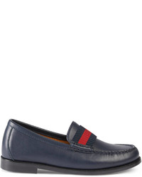 Gucci Childrens Leather Loafer With Web