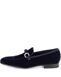 95096d4407ae ... Salvatore Ferragamo Lord 2 Velvet Slip On Loafer Blue Marine