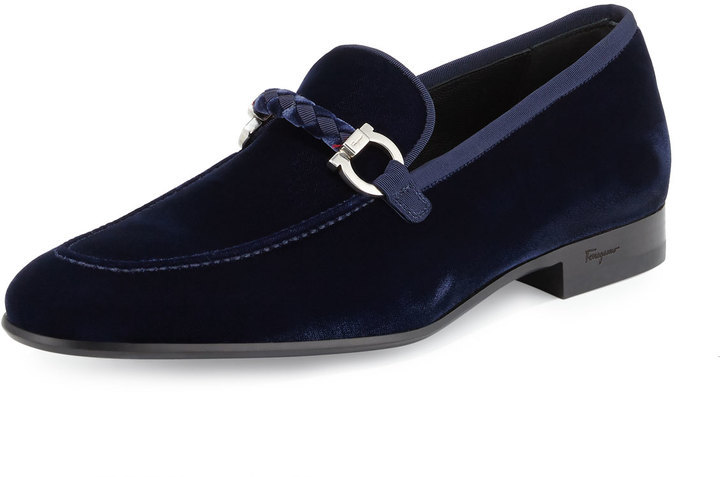a307ec8bff1da Salvatore Ferragamo Lord 2 Velvet Slip On Loafer Blue Marine, $640 ...