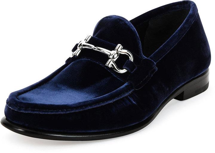2a0db746d3e ... Loafers Salvatore Ferragamo Mason 2 Ng Velvet Gancini Loafer Navy ...