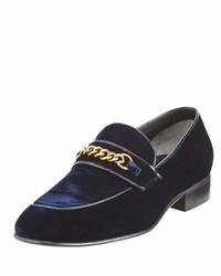 Tom Ford Velvet Chain Link Loafer Blue