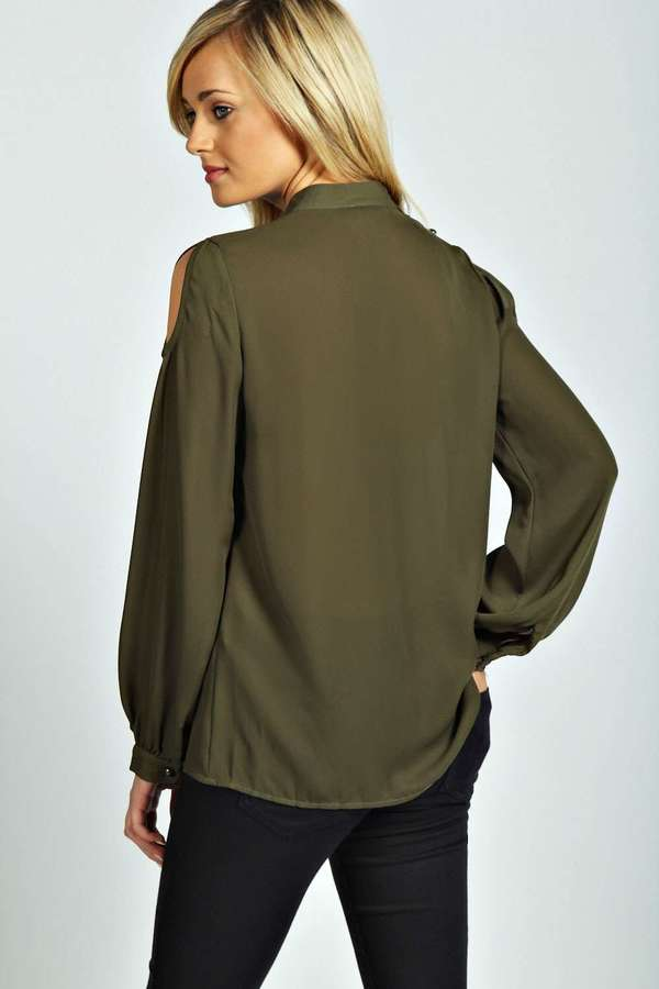 dfa098d70a941e Boohoo Jacey Open Shoulder High Neck Long Sleeve Blouse