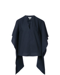 DELPOZO Draped Sleeve Fitted Blouse