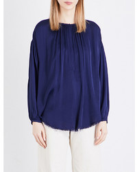 Raquel Allegra Gathered Long Sleeved Chiffon Blouse
