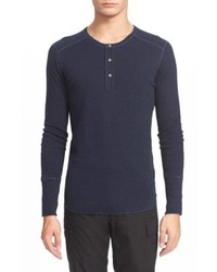 Navy Long Sleeve Henley Shirt