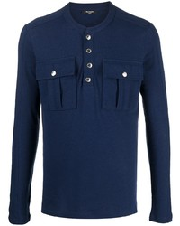 Balmain Linen Blend Button Up Henley Top