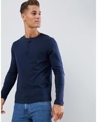 ASOS DESIGN Long Sleeve T Shirt With Grandad Neck In Navy