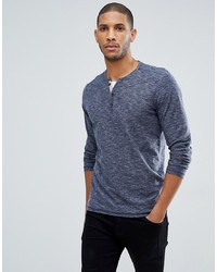Tom Tailor Ls Top In Navy Marl With Double