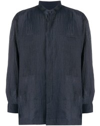 Issey Miyake Men Crinkled Mandarin Collar Shirt