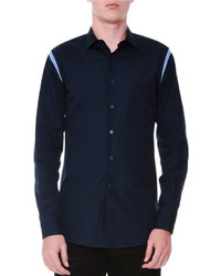 Alexander McQueen Cutout Trim Button Down Woven Shirt Navy