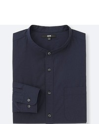 Uniqlo Extra Fine Cotton Stand Collar Long Sleeve Shirt