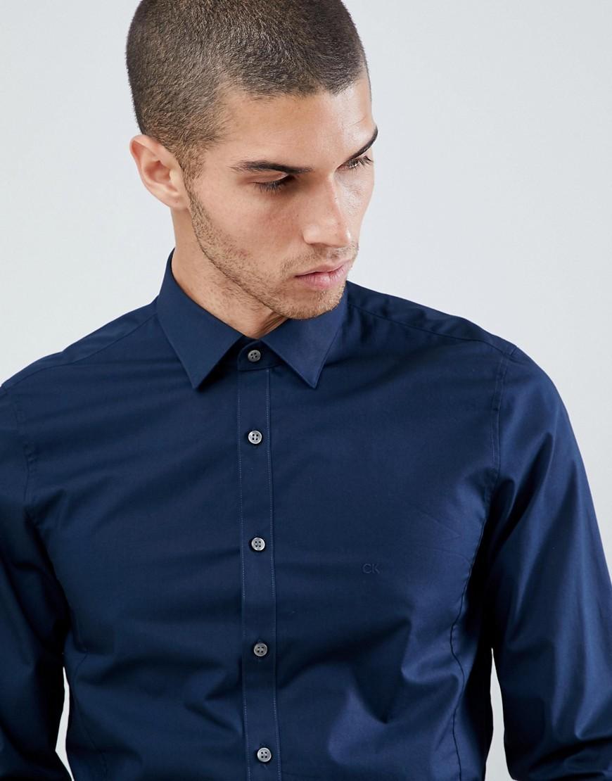 Calvin Klein Extra Slim Stretch Shirt Midnight Blue Where To Buy