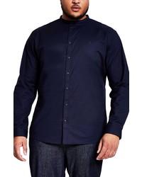 River Island Grandad Oxford Regular Fit Stretch Button Up Shirt