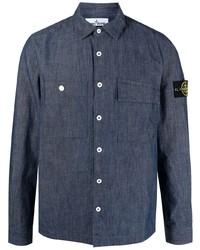 Stone Island Logo Patch Cotton Shirt