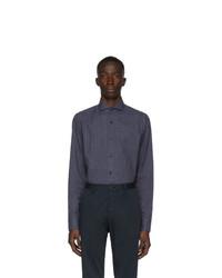 Z Zegna Navy And Grey Check Cotton Shirt