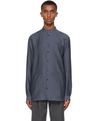 Giorgio Armani Navy Lyocell Blend Pocket Shirt