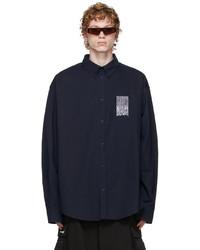 Balenciaga Navy Poplin Barcode Large Fit Shirt