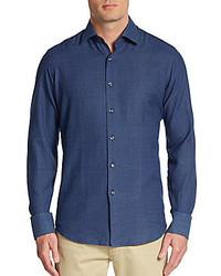 Saks Fifth Avenue Regular Fit Neat Pattern Cotton Sportshirt