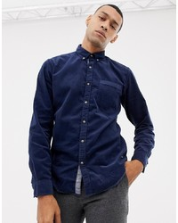 Esprit Slim Fit Baby Cord Collar Shirt In Navy