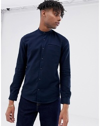 Tom Tailor Slim Fit Waffle Shirt In Navy