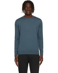 Loro Piana Blue Wool Long Sleeve T Shirt