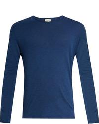 American Vintage Curved V Neck Cotton Jersey T Shirt