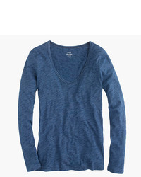 J.Crew Indigo Vintage Cotton Long Sleeve Scoopneck T Shirt