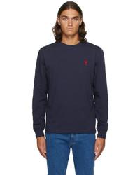 AMI Alexandre Mattiussi Navy Ami De Cur Long Sleeve T Shirt