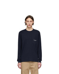 Comme des Garcons Homme Navy Logo Long Sleeve T Shirt