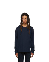 Thom Browne Navy Relaxed Fit Long Sleeve T Shirt