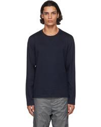 Thom Browne Navy Rib Gusset Long Sleeve T Shirt