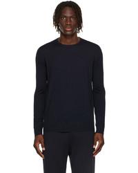 Loro Piana Navy Wool Long Sleeve T Shirt