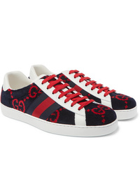 Gucci Ace Leather Trimmed Logo Print Terry Sneakers