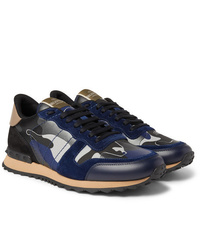 Valentino Garavani Rockrunner Metallic Camouflage Print Canvas Leather And Suede Sneakers