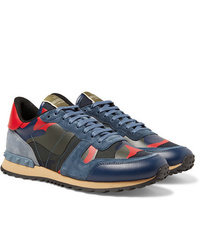 Valentino Garavani Rockrunner Suede Leather And Canvas Sneakers