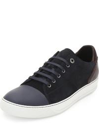 Lanvin Low Top Sneaker With Contrast Heel Bluelight Gray