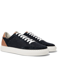 Brunello Cucinelli Leather Suede And Flannel Sneakers