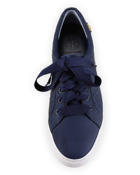 Tory Burch Marion Quilted Leather Low Top Sneaker Bright Navy