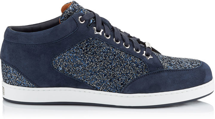84cb194a6144 ... Sneakers Jimmy Choo Miami Navy Crackly Glitter Fabric Low Top Trainers  ...