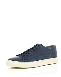 River Island Navy Leather Low Top Sneakers