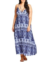 City Chic Plus Size Tie Dye Blues Maxi Dress