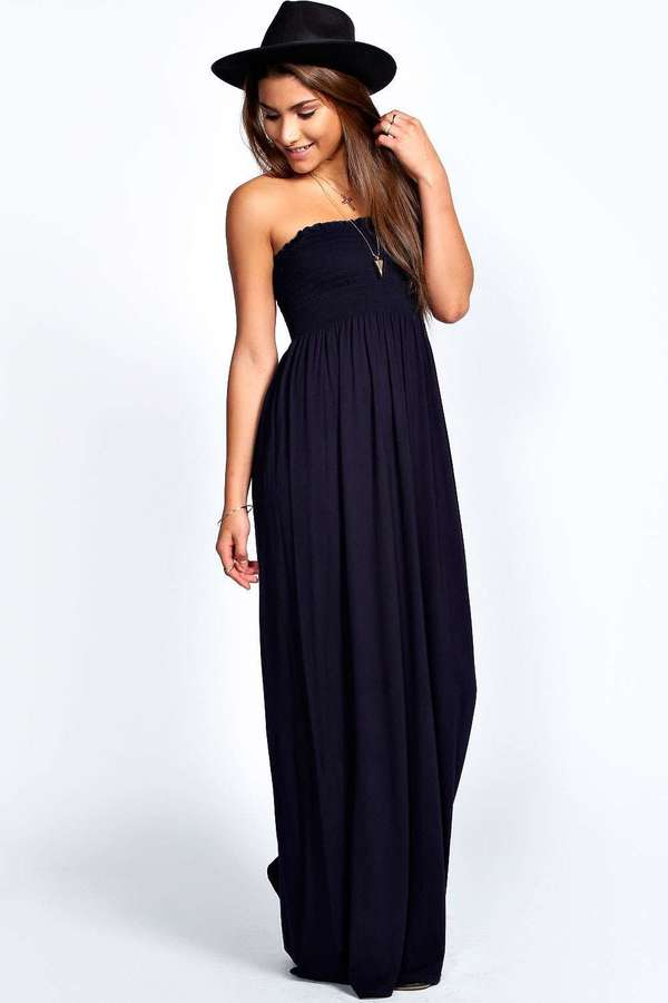 d0ea4caece2c9 Boohoo Shelley Shirred Bandeau Maxi Dress, $20 | BooHoo | Lookastic.com