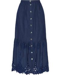 Adrienne crochet trimmed cotton maxi skirt indigo medium 835340